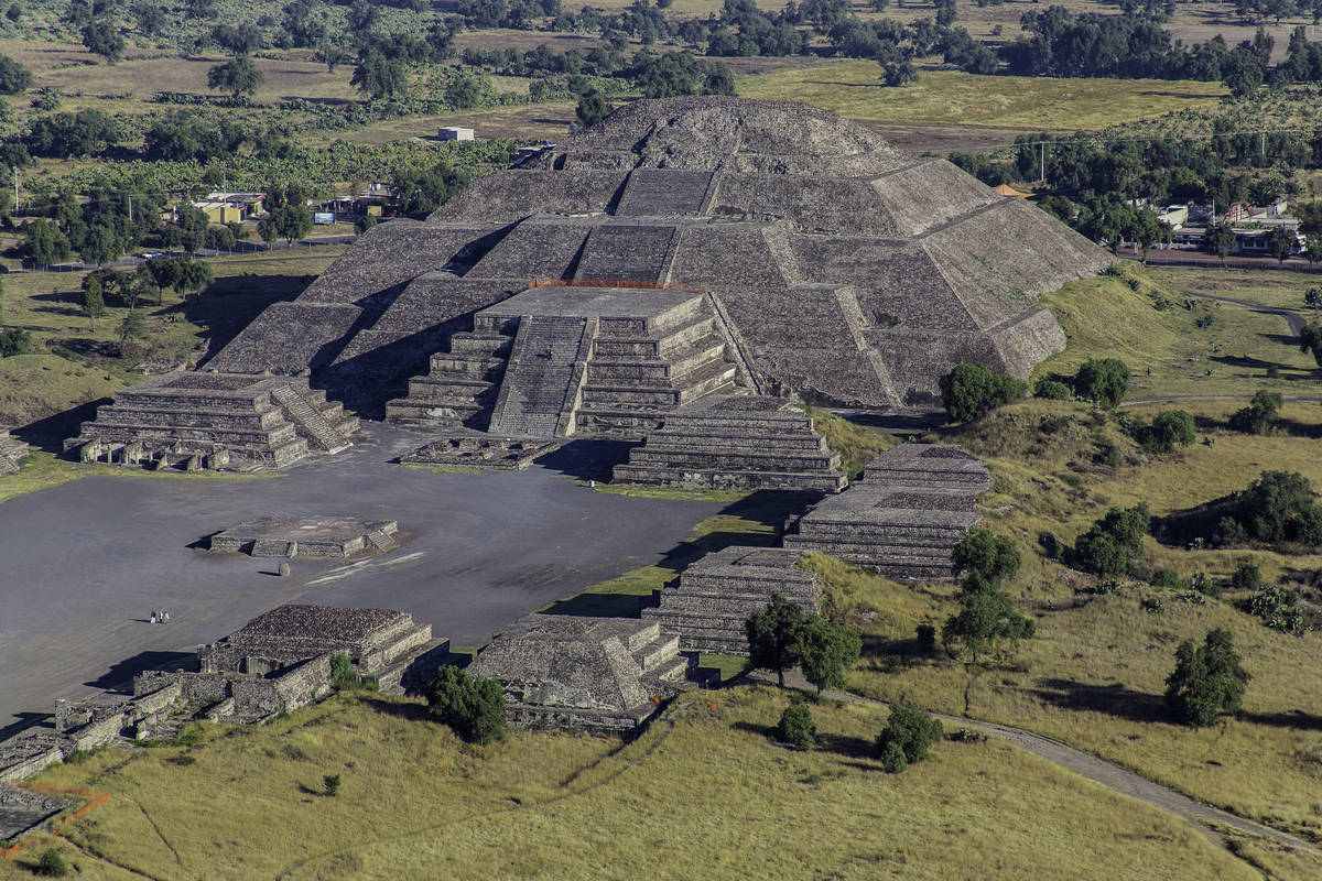 Aerial shot of Teotihuacan in Mexico
