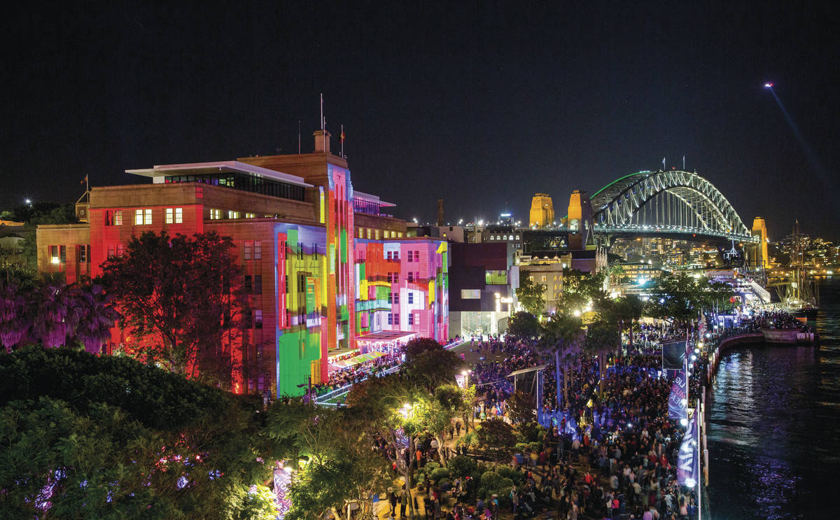 Museum of Contemporary Art and the Harbour Bridge lit up during Vivid