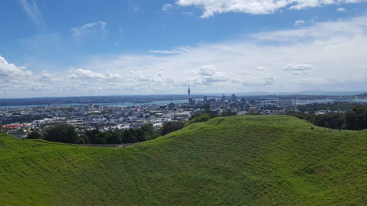 The view from the top of Mount Eden, Auckland New Zealand.