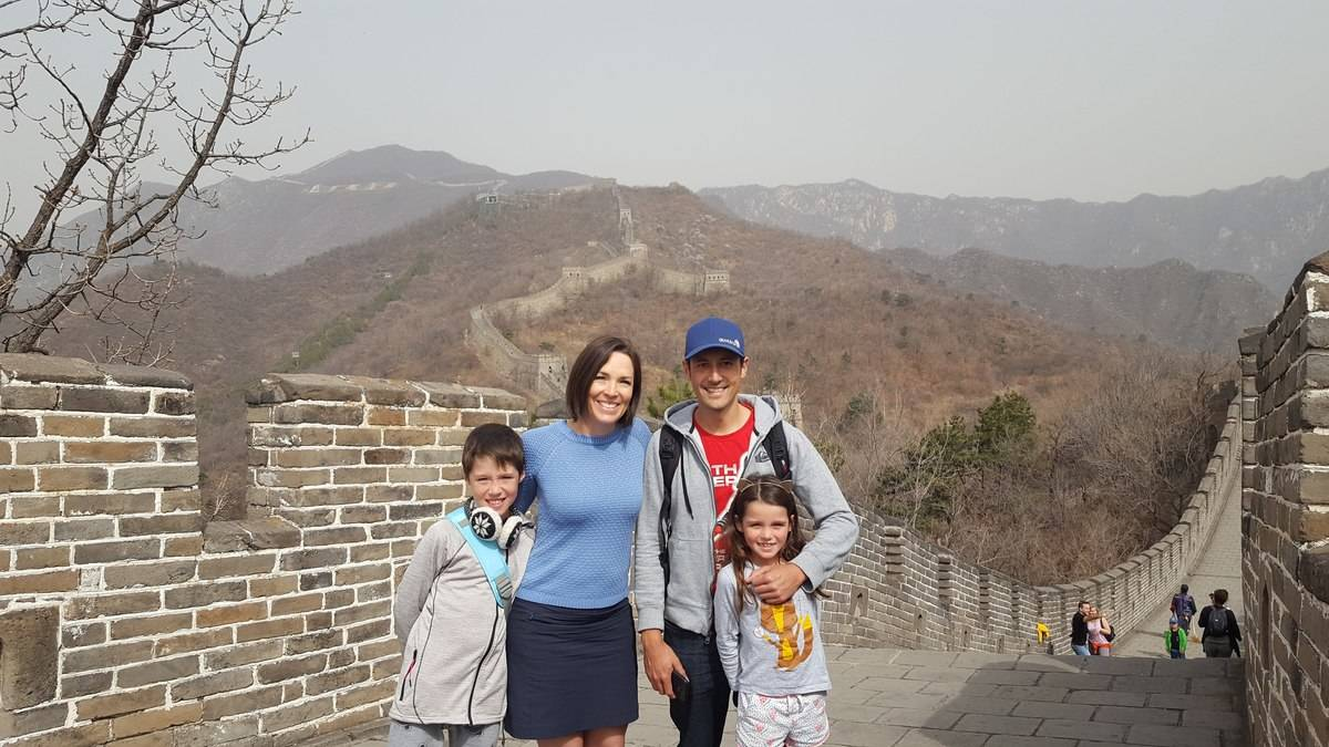 Alison Godfrey with her children Callum, Amelie and husband Chris in China.