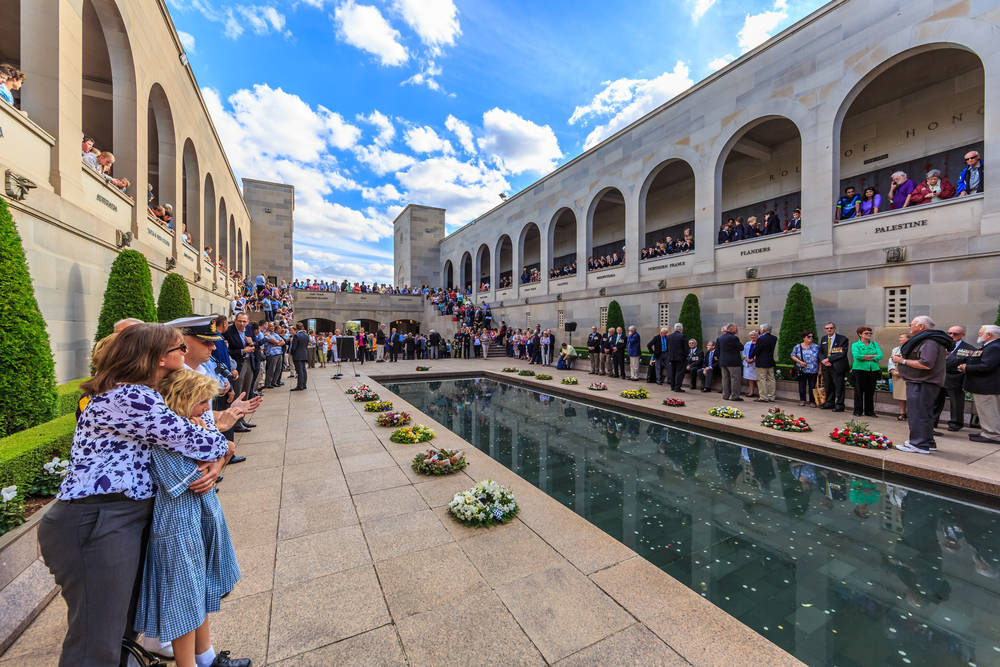 The Last Post Ceremony at Australian War Memorial occurs at the end of each day, commencing at 4.55 pm AEST.
