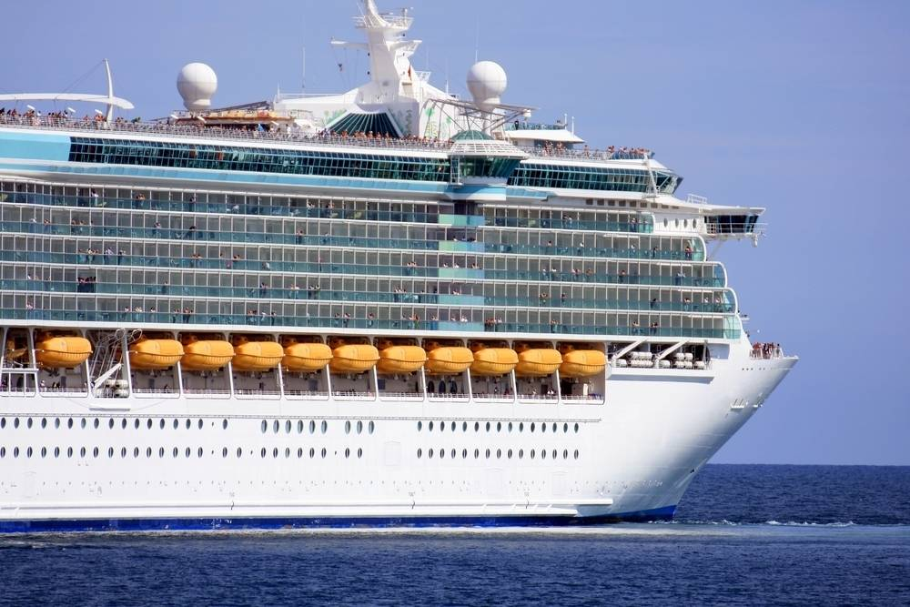 Huge cruise liner at sea