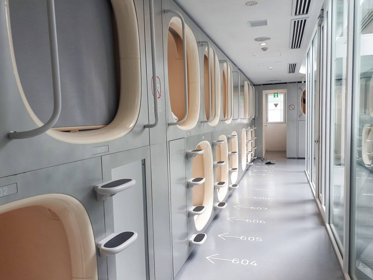 The rows of pods in a Japanese capsule hotel