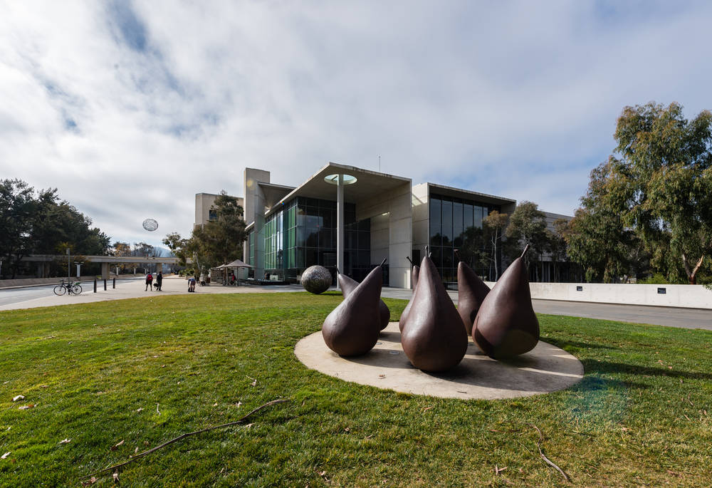 There are more sculptures like these funky pears inside the gallery