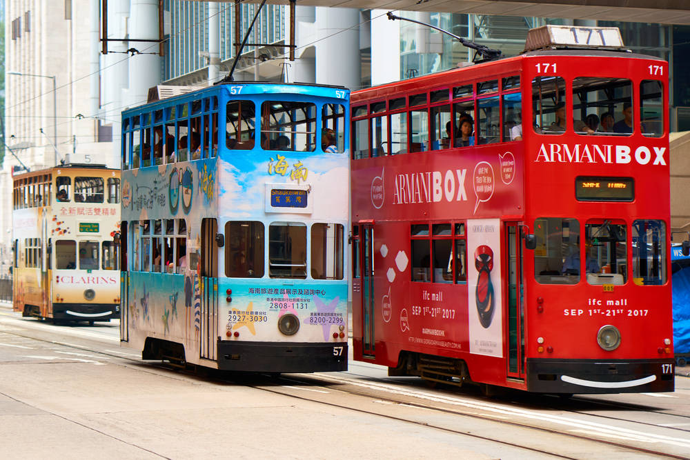 Hong Kong's thin, two-decker trams