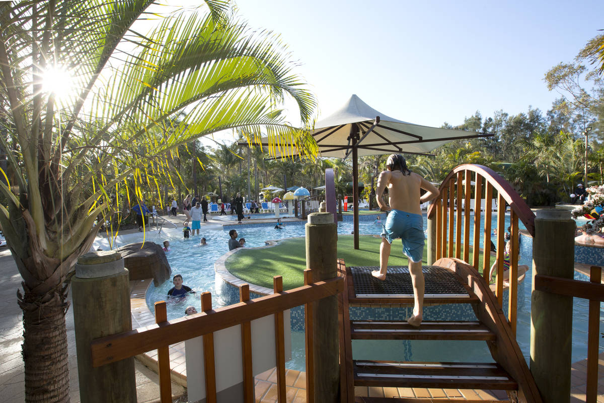 Check out the brand new water park with mushroom fountains, whirlpools and more!
