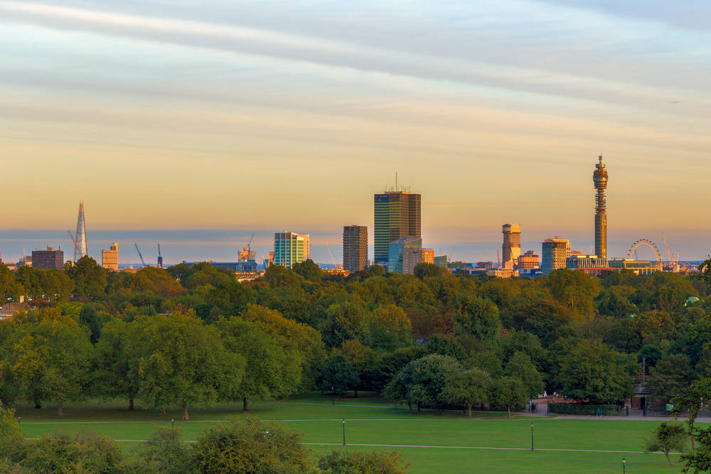 Primrose Hill in London has a great view of the city.
