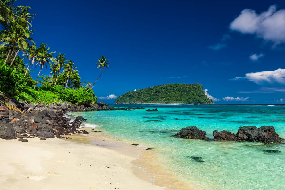Tropical island with azure water and palm trees